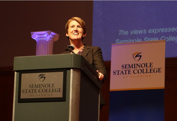 Georgia Lorenz speaking at Seminole State College