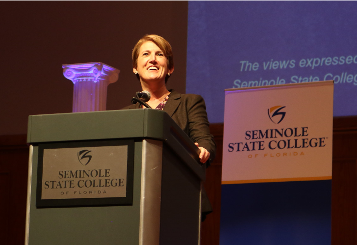Georgia Lorenz speaking at Seminole State College